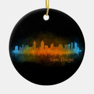 Californian San Diego City Skyline Watercolor v03 Ceramic Ornament