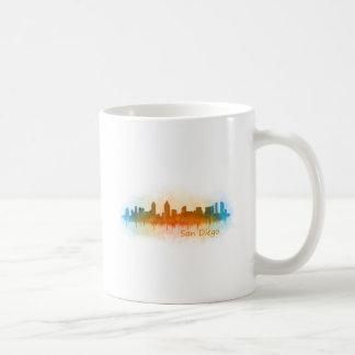 Californian San Diego City Skyline Watercolor v03 Coffee Mug