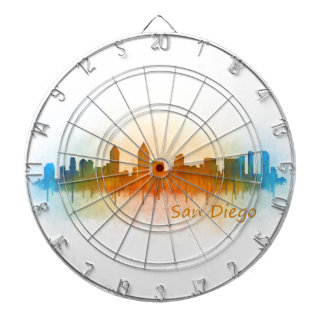 Californian San Diego City Skyline Watercolor v03 Dartboard
