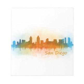 Californian San Diego City Skyline Watercolor v03 Notepad