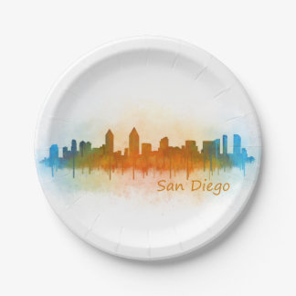 Californian San Diego City Skyline Watercolor v03 Paper Plate