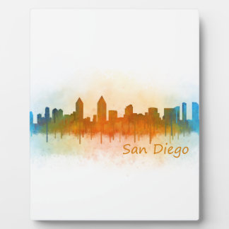 Californian San Diego City Skyline Watercolor v03 Photo Plaque