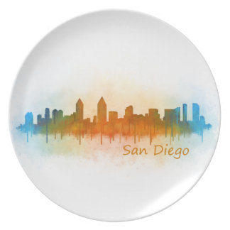 Californian San Diego City Skyline Watercolor v03 Plate