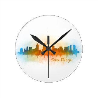 Californian San Diego City Skyline Watercolor v03 Round Clock