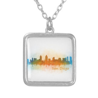 Californian San Diego City Skyline Watercolor v03 Silver Plated Necklace