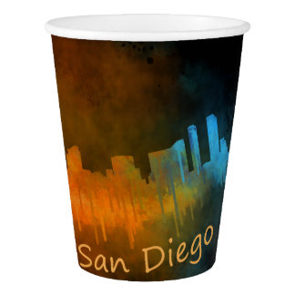 Californian San Diego City Skyline Watercolor v04