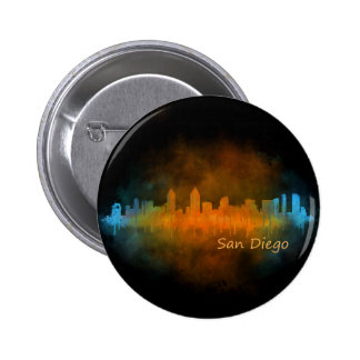 Californian San Diego City Skyline Watercolor v04 6 Cm Round Badge