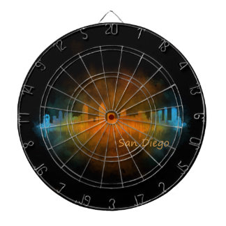 Californian San Diego City Skyline Watercolor v04 Dartboard