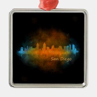 Californian San Diego City Skyline Watercolor v04 Metal Ornament