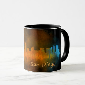 Californian San Diego City Skyline Watercolor v04 Mug