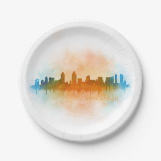 Californian San Diego City Skyline Watercolor v04 Paper Plate