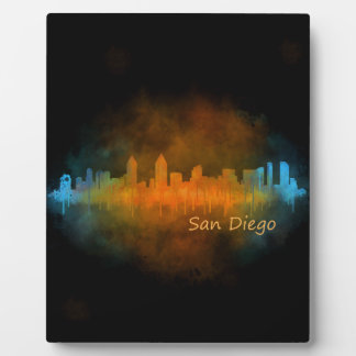 Californian San Diego City Skyline Watercolor v04 Photo Plaque