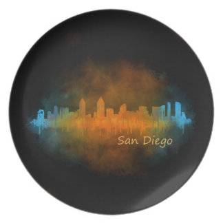 Californian San Diego City Skyline Watercolor v04 Plate