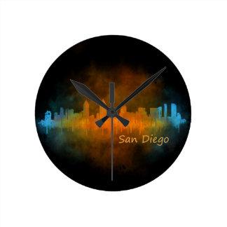 Californian San Diego City Skyline Watercolor v04 Round Clock
