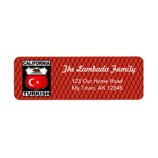 Californian Turkish American Address Labels