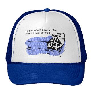 Call In Sick Fishing Hat Cap Funny Work Humor