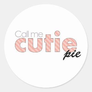 Call Me Cutie Pie Round Sticker