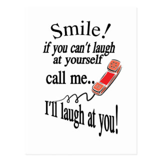 Call Me, I'll Laugh At You. Cynical and Very Funny Postcard