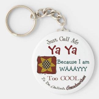 Call Me Ya Ya Cool Grandma Keychain Prim Sunflower