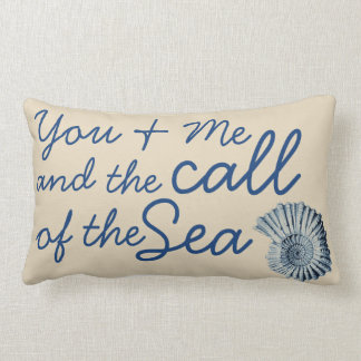 Call of the Sea Blue Spiral Seashell & Family Name Lumbar Cushion