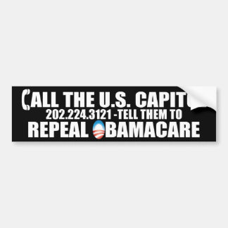 CALL THE CAPITOL - REPEAL OBAMACARE CAR BUMPER STICKER