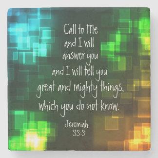 Call to Me Bible Verse Jeremiah 33:3 Stone Coaster