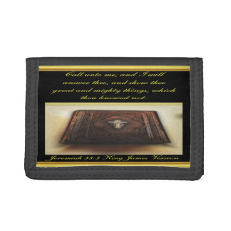 Call unto me, and I will answer thee Jeremiah 33:3 Tri-fold Wallets