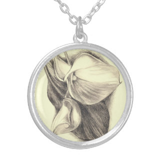 Calla Lilies Drawing Round Pendant Necklace