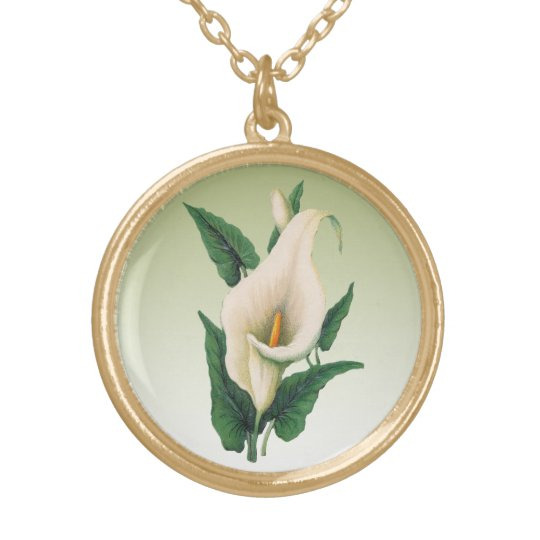 Calla Lilies Gold Plated Necklace