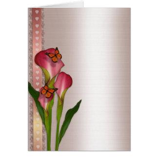 Calla lilies on pink satin wedding invitation