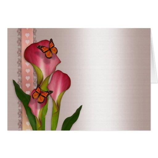 Calla lilies on pink satin wedding invitation card