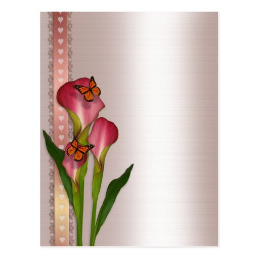 Calla lilies on pink satin wedding invitation post card