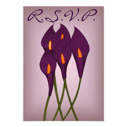 Calla Lilies (Purple) R.S.V.P Card Personalized Announcement