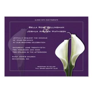"Calla Lilies Wedding Invitation on Purple 5"" X 7"" Invitation Card"