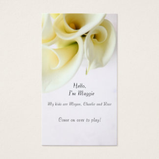 Calla lilies with text space business card