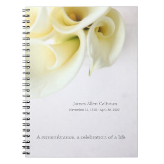 Calla lilies with text space notebooks