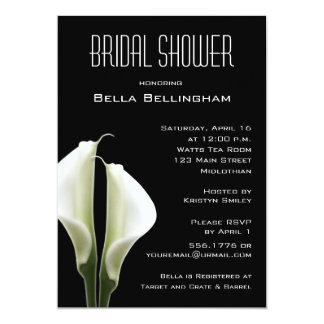 Calla Lillies Bridal Shower Invitation on Black