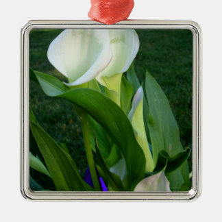 Calla Lillies (white) Silver-Colored Square Decoration