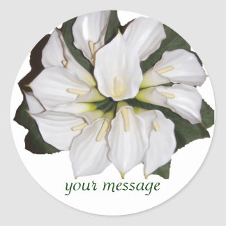 Calla lilly blooms classic round sticker