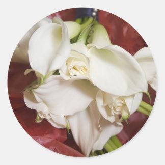 Calla lilly bouquet round sticker