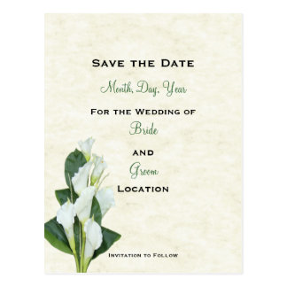 Calla Lilly Save The Date Card Postcard