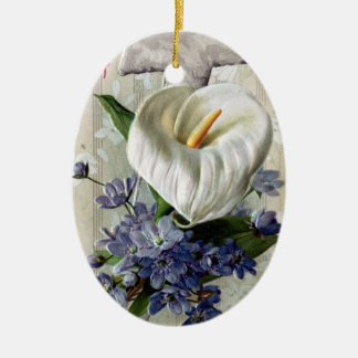 Calla Lily and Cross Vintage Easter Ceramic Oval Decoration
