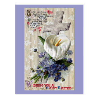 Calla Lily and Cross Vintage Easter Postcard