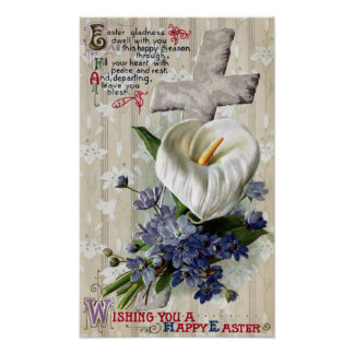 Calla Lily and Cross Vintage Easter Poster