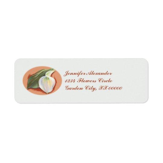 Calla Lily and Leaf Wedding Return Address Label