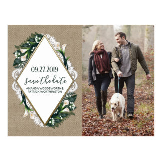 Calla Lily Burlap Lace Wedding Save the Date Cards