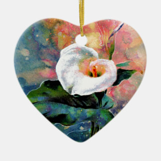 CALLA LILY CERAMIC HEART DECORATION