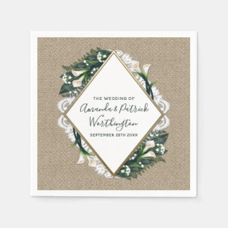 Calla Lily Country Burlap and Lace Wedding Napkins Disposable Napkins
