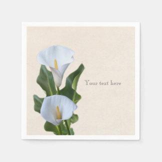 Calla Lily Flowers Floral Elegant Bridal Wedding Paper Napkins