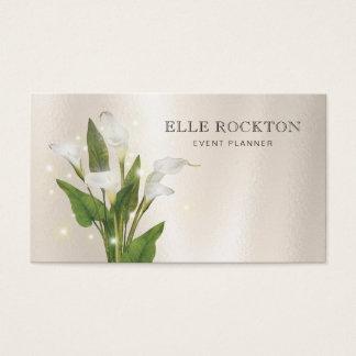 Calla Lily Minimalist Pearl Gloss Business Card